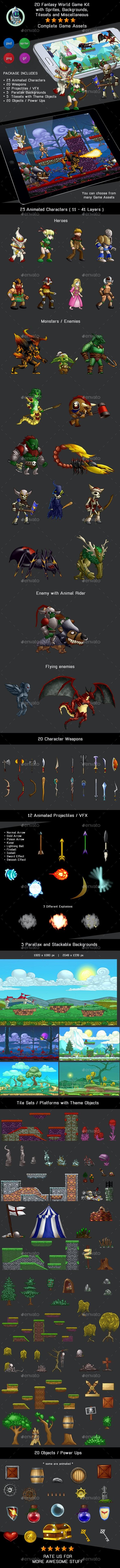 2D Fantasy World Game Kit Bundle w sprites, backgrounds & more - Game Kits Game Assets