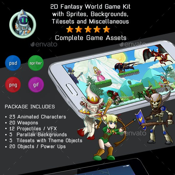 2D Fantasy World Game Kit Bundle w sprites, backgrounds & more