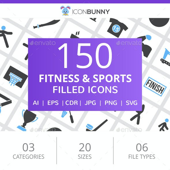 150 Fitness & Sports Filled Blue & Black Icons
