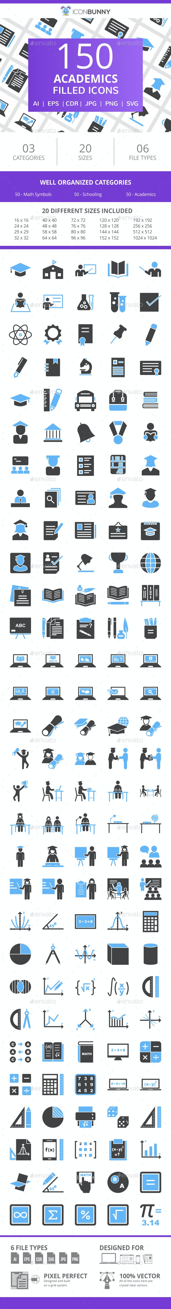 150 Academics Filled Blue & Black Icons - Icons