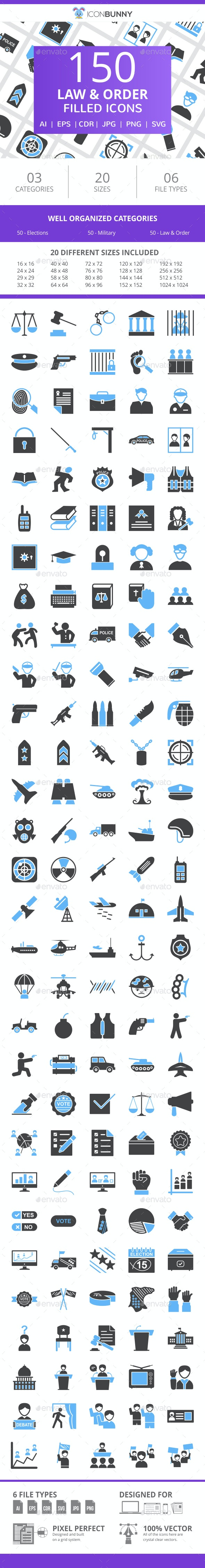 150 Law & Order Filled Blue & Black Icons - Icons