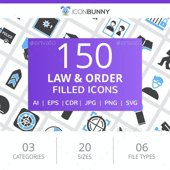 150 Law & Order Filled Blue & Black Icons