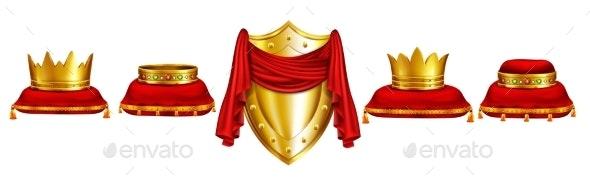 Monarch Coronation Ceremony Attributes Vector Set - Decorative Symbols Decorative
