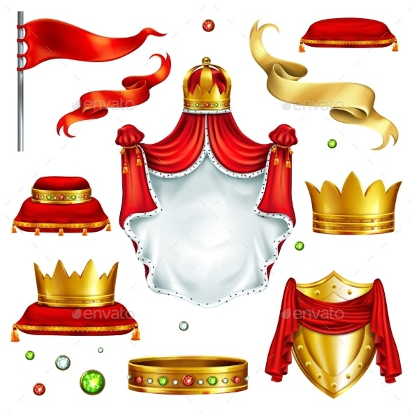 Royal Attributes and Symbols Realistic Vector Set - Man-made Objects Objects