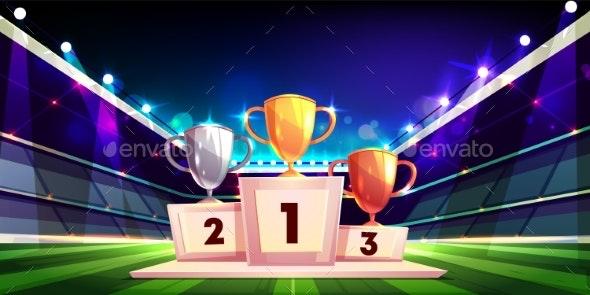 Sport Cup Trophies on Pedestal Cartoon Vector - Sports/Activity Conceptual