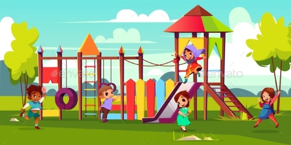 Kids Playing on Park Playground Cartoon Vector - People Characters