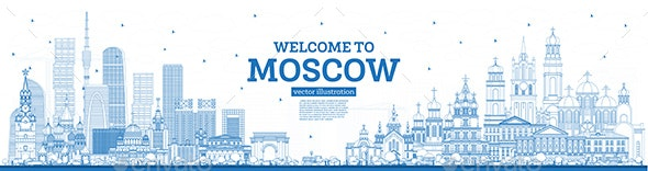 Outline Welcome to Moscow Russia Skyline with Blue Buildings - Buildings Objects