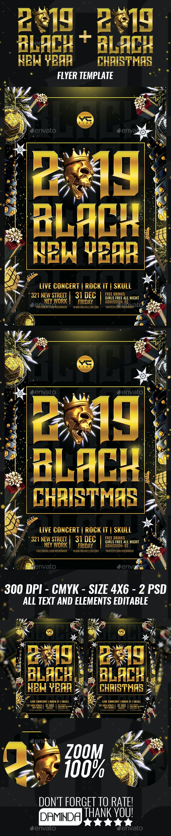 Black New Year and Christmas 2019 Flyer Template - Clubs & Parties Events