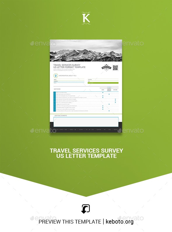 Travel Services Survey US Letter Template - Miscellaneous Print Templates