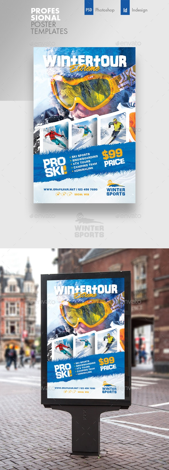Winter Adventure Poster Templates - Signage Print Templates