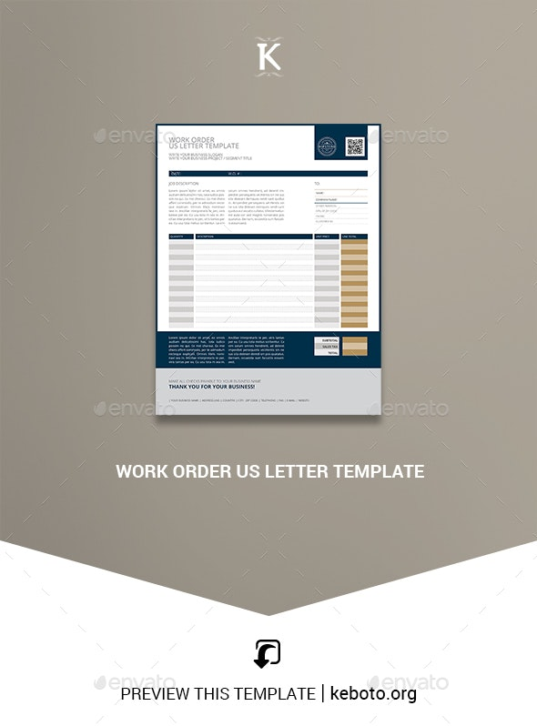 Work Order US Letter Template - Miscellaneous Print Templates