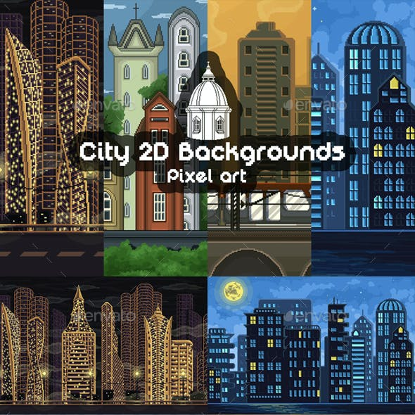 2D Game City Backgrounds Pixel Art