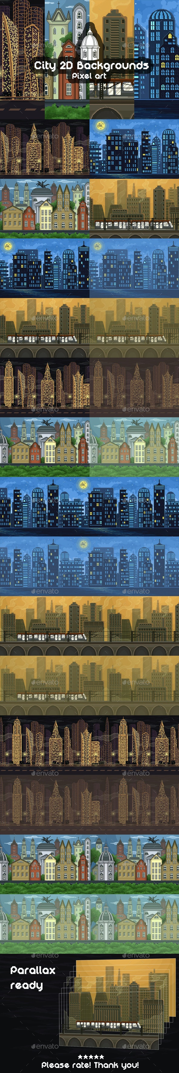 2D Game City Backgrounds Pixel Art - Backgrounds Game Assets