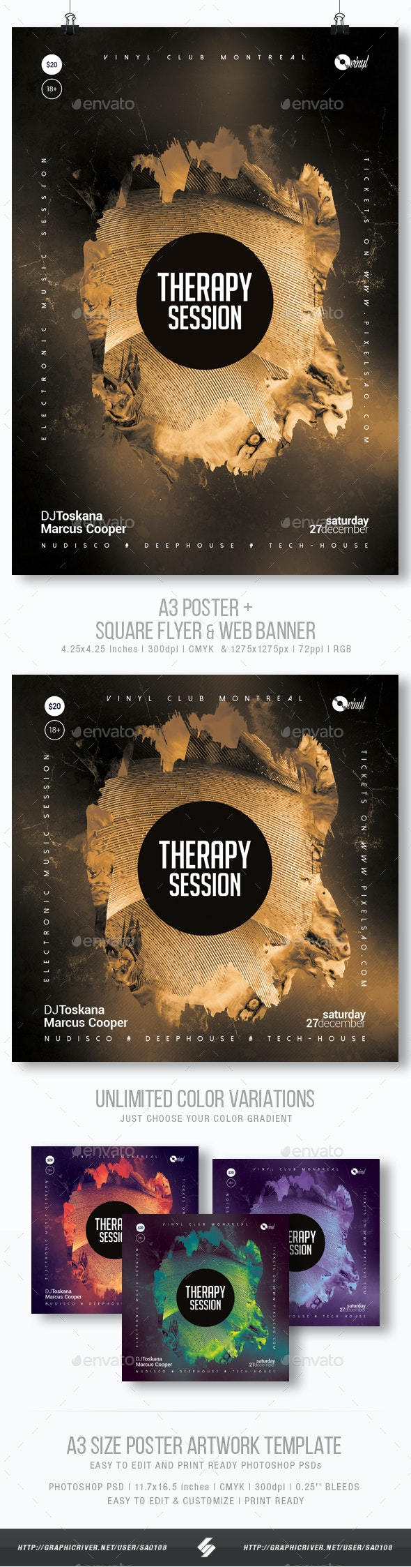 Therapy Session - Club Party Flyer / Poster Artwork Template A3 - Clubs & Parties Events