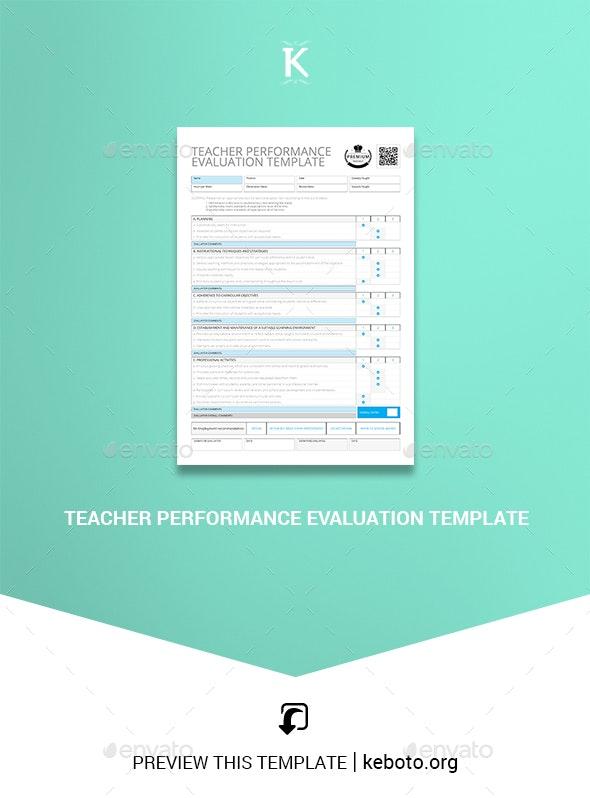 Teacher Performance Evaluation Template - Miscellaneous Print Templates