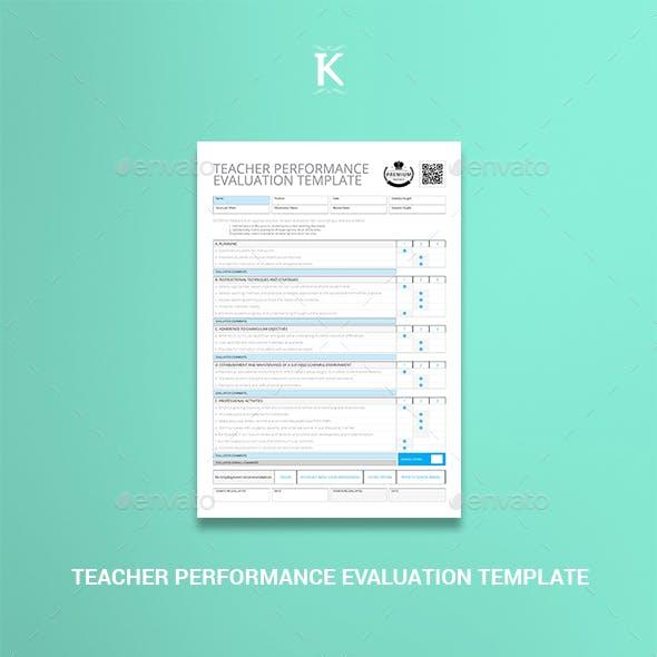 Teacher Performance Evaluation Template
