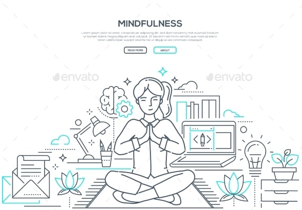 Mindfulness - Modern Line Design Style Web Banner - Miscellaneous Conceptual