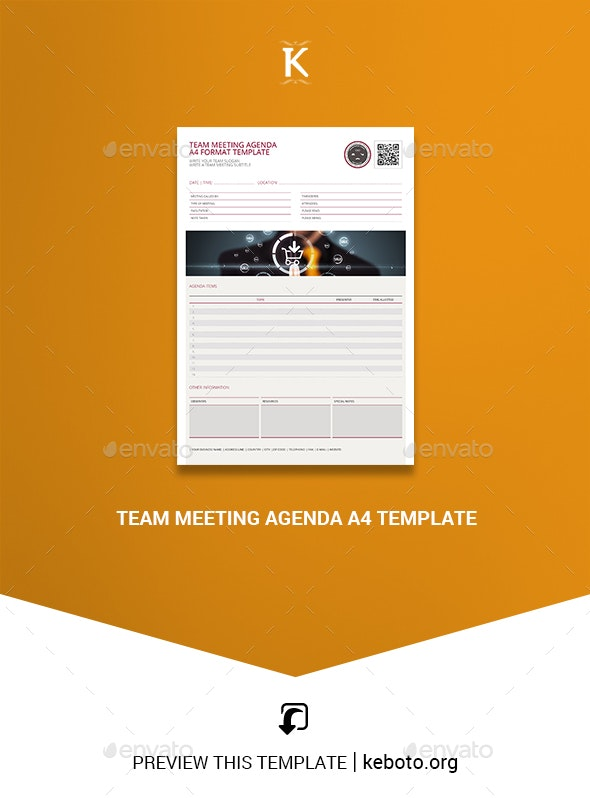 Team Meeting Agenda A4 Template - Miscellaneous Print Templates