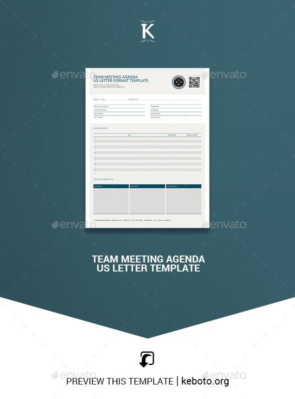 Team Meeting Agenda US Letter Template - Miscellaneous Print Templates