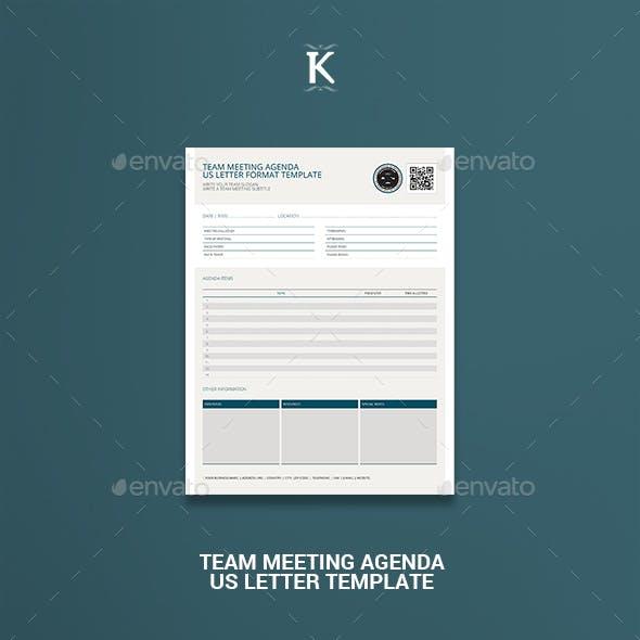 Team Meeting Agenda US Letter Template