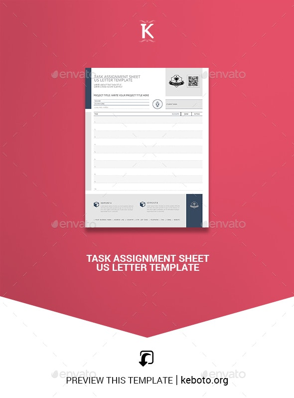 Task Assignment Sheet US Letter Template - Miscellaneous Print Templates