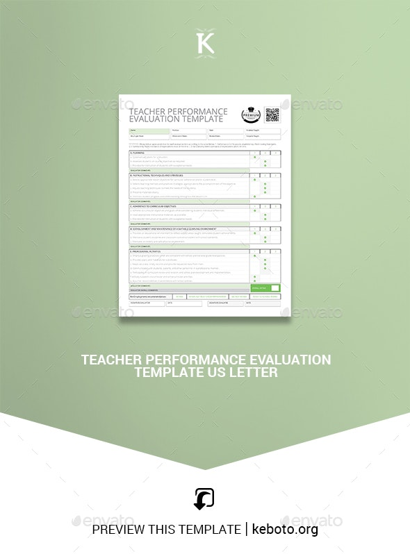 Teacher Performance Evaluation Template US Letter - Corporate Brochures