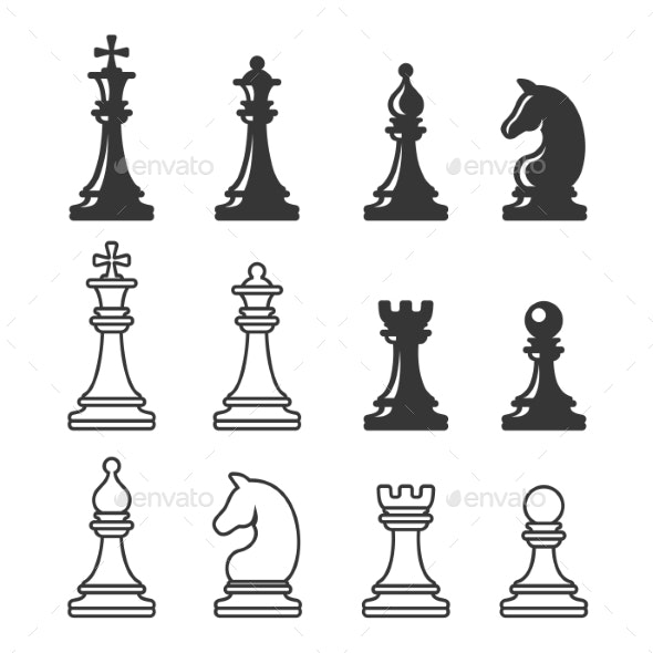 Black and White Chess Game Figures - Man-made Objects Objects