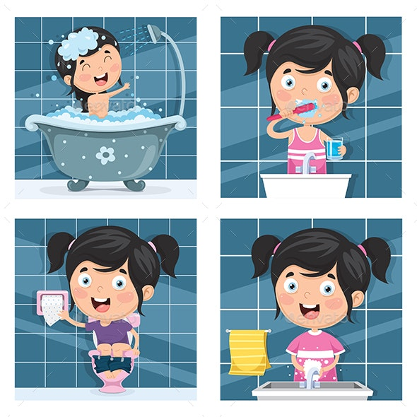 Vector Illustration of Kids Hygiene - People Characters