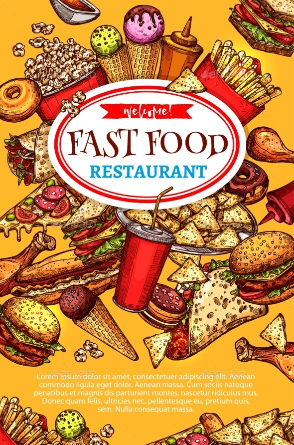 Vector Fast Food Restaurant Poster - Food Objects