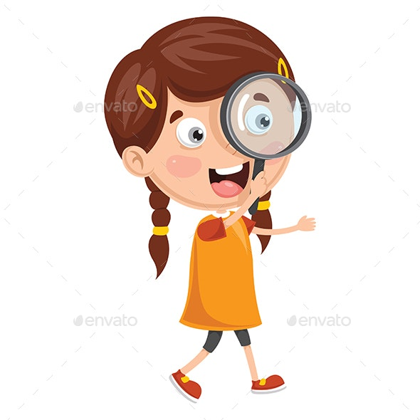 Vector Illustration of Kid With Magnifier - People Characters
