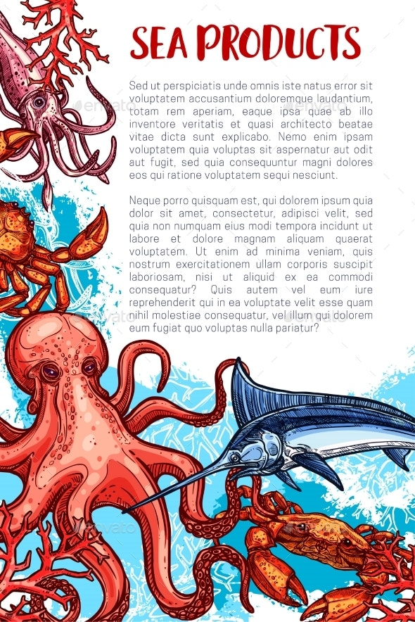 Vector Seafood and Fish Sea Product Market Poster - Animals Characters
