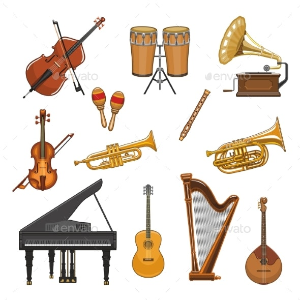Vector Icons Set of Musical Instruments - Miscellaneous Vectors