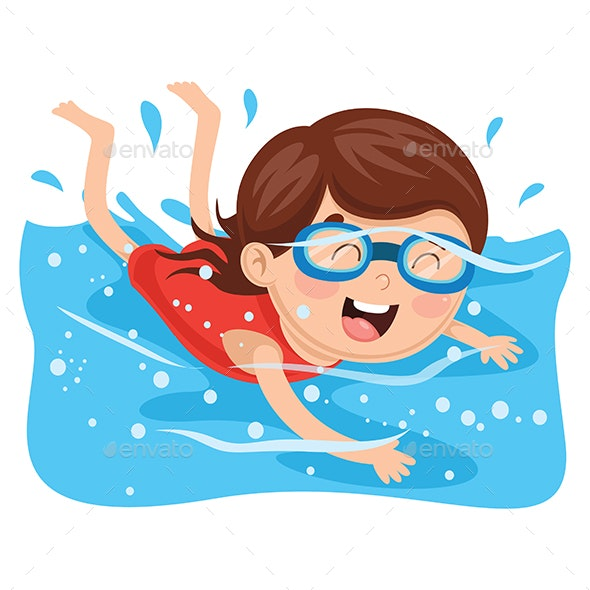 Vector Illustration of Kid Swimming - People Characters