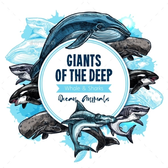 Giant Sea Animals or Fish Vector Poster - Animals Characters