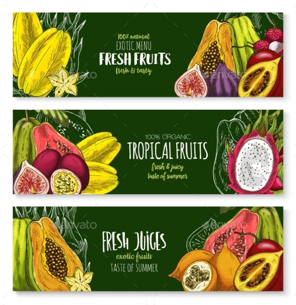 Vector Exotic Fruits Banners Set for Juice Bar - Food Objects