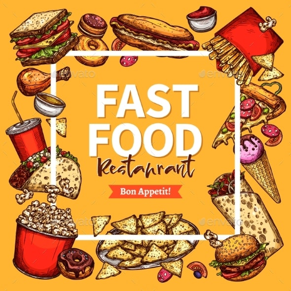 Vector Fast Food Restaurant Poster Menu Template - Food Objects
