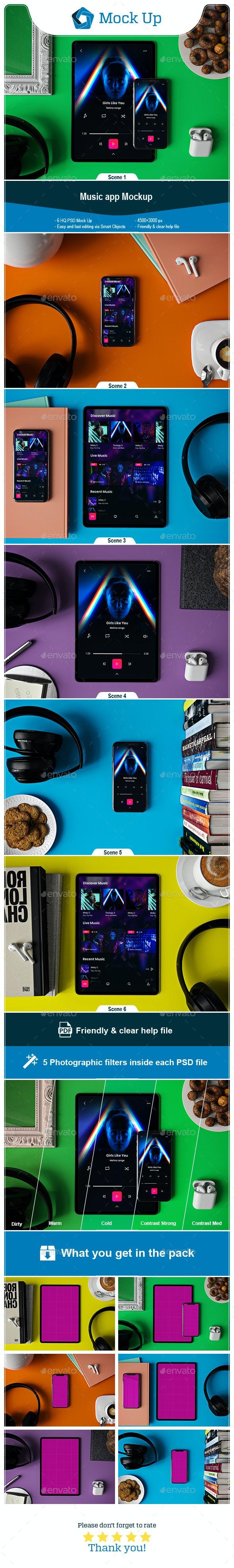 Music App Mockup - Displays Product Mock-Ups
