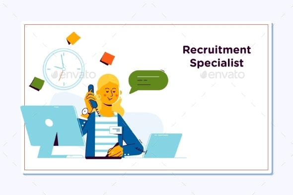 Recruitment Concept for Web Page Openly Greeting - People Characters