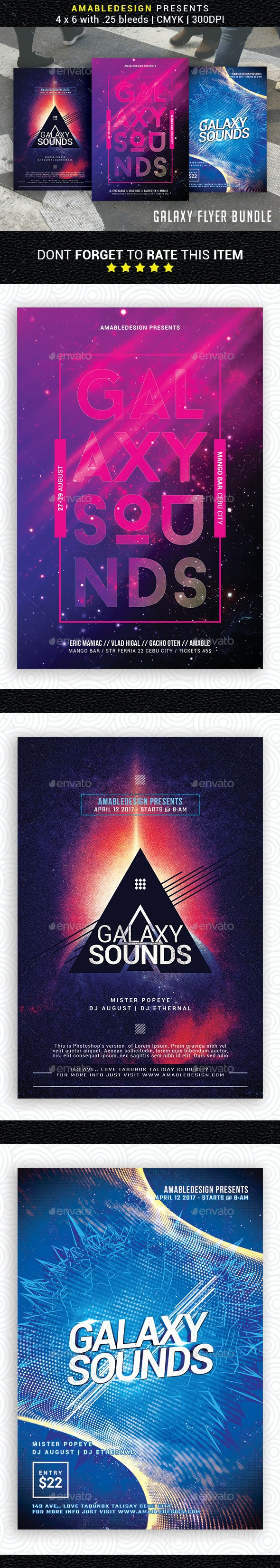 3 in 1 Galaxy Flyer/Poster Bundle - Events Flyers