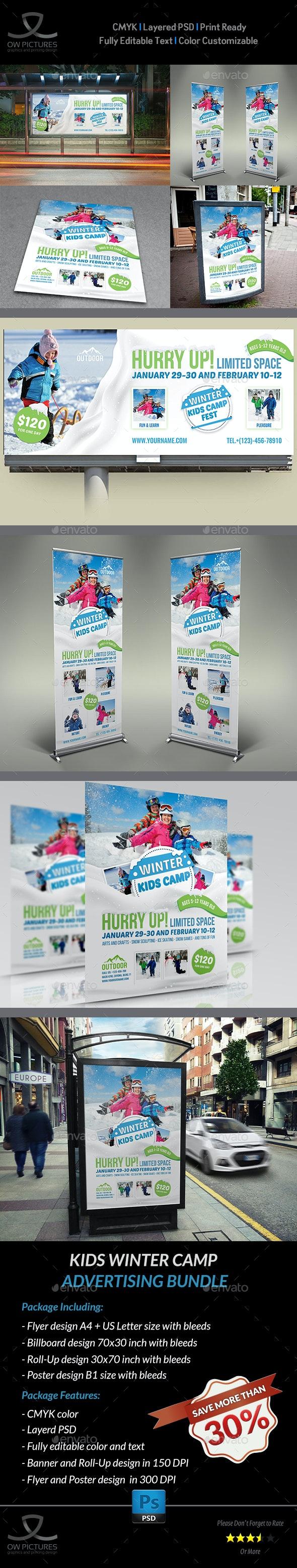 Kids Winter Camp Advertising Bundle - Signage Print Templates