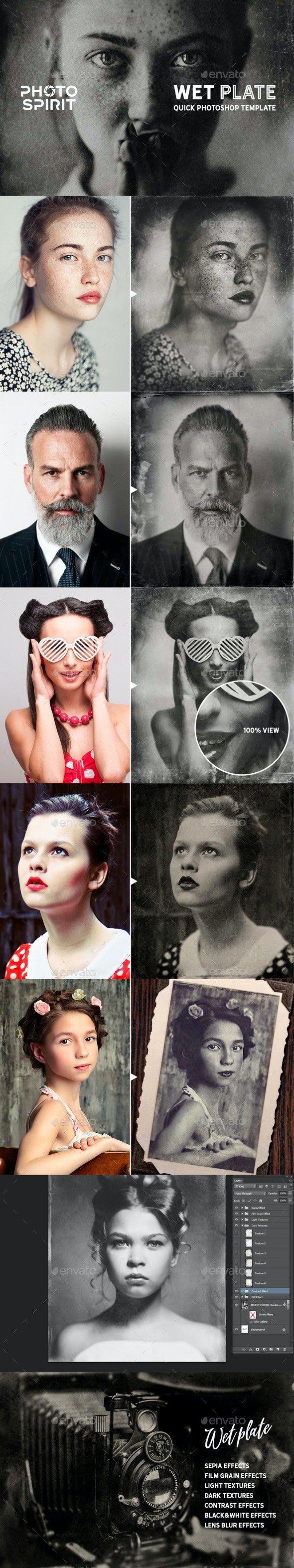 Wet Plate Photoshop Template PRO - Artistic Photo Templates