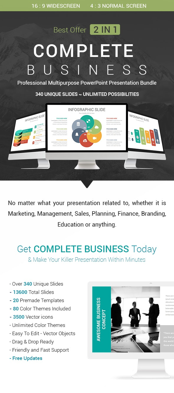 Complete Business - 2 In 1 PowerPoint Presentation Template Bundle - Business PowerPoint Templates