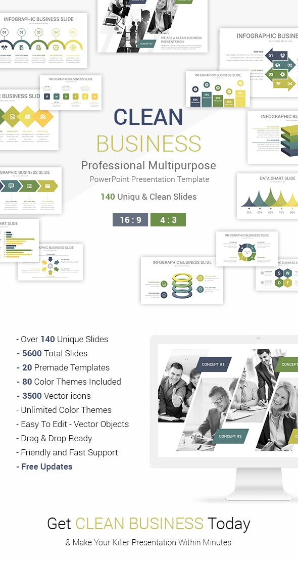 Clean Business PowerPoint Presentation Template - Business PowerPoint Templates