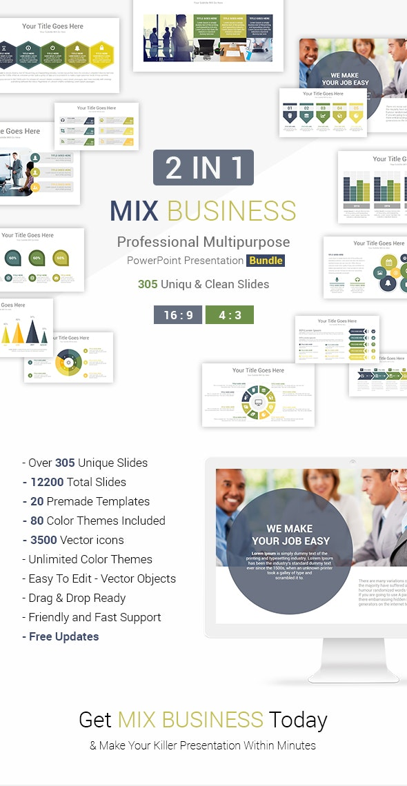 2 In 1 Mix Business PowerPoint Presentation Template Bundle - Business PowerPoint Templates