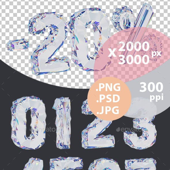 Diamond 3D Numbers with Transparent Background