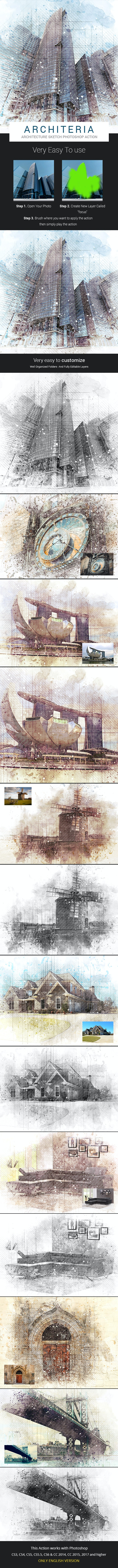 Architeria - Architecture Sketch Photoshop Action - Photo Effects Actions