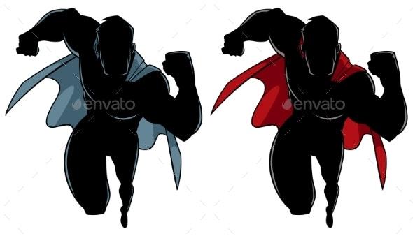 Superhero Running Silhouette - People Characters