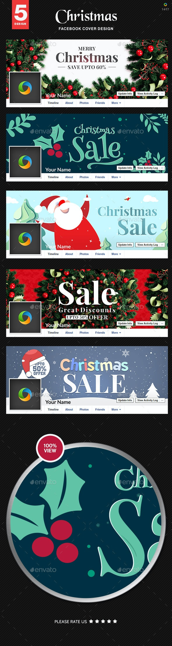 Christmas Sale Facebook Cover Templates - 5 Designs - Facebook Timeline Covers Social Media