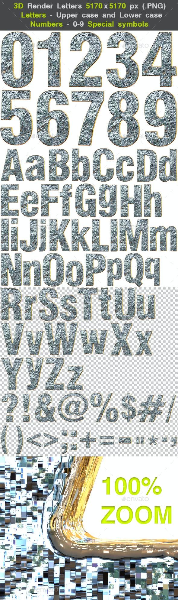 3D Render Silver Relief Metal Letters - Text 3D Renders