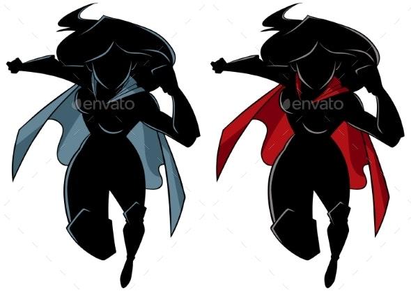 Superheroine Running Silhouette - People Characters
